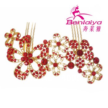 2013 NewFree Shipping 2pcs/lot Red Rhinestone Tiara Flower Wedding Hairwear Bridal Crown Gold Plated Jewelry Wedding Accessories