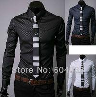 Free shipping Mens Designer Stripes Dress Shirts Tops Casual Slim long shirts