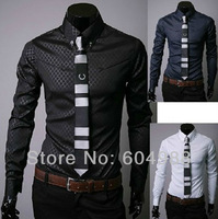 Free shipping Mens Designer Stripes Dress Shirts Tops Casual Slim long shirts