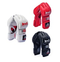Free Shipping! 3 colors Half Finger Boxing Gloves Sanda Fighting Sandbag Gloves Made of High Quality PU leather