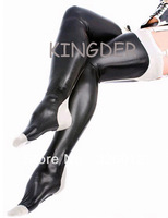 Sexy black latex tights long stocking socks