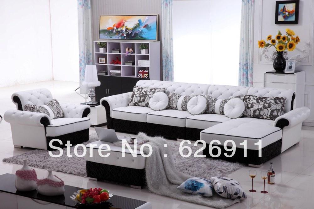 Modern Style Elegant Sofa Purple Living Room Set Leather Sofa Set Living Room