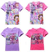 Retail New 2015 100%cotton monster high kids t shirt summer  girls t shirts tops tee cartoon children hobby clothing Cool