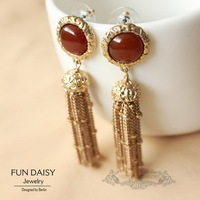 2013 fashion Free shipping FUN DAISY* Luxury Jewelry  Red Jade Tassel Bohemian Drop Flower Earrings Costume OEM wholesale
