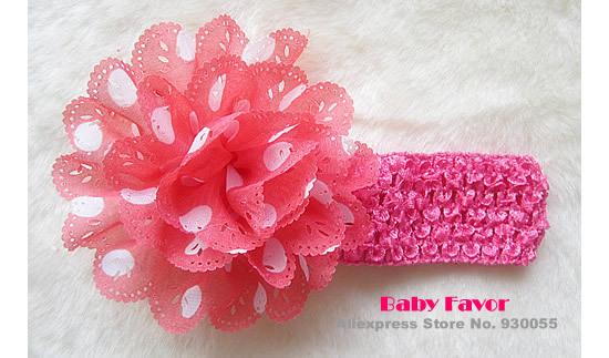 Free Shipping 2013 10pcs Polka Dot Chiffon Flower Kid Baby Girls Headband Hairbow Headwear Accessories Fashion Party Artificials