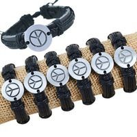 wholesale lots 6pcs PEACE SIGN Alloy Metal Genuine Leather Bracelet CL1029