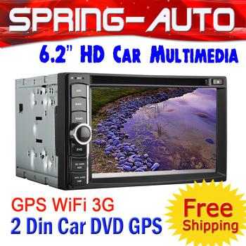"FREEshipping 2 Din Car DVD Player GPS autoradio Multimedia  6.2"" Universal GPS Navigator bluetooth Ipod  Free Map 4G TF"