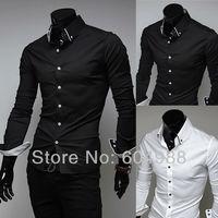 New arrive,Men's Shirt Men's casual fashion wrapping striped lining long sleeve shirt