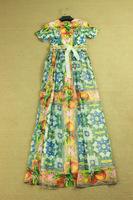2014 Top Quality Summer Vintage Dress Women Short Sleeve Flower Printed Beading Belt Maxi Long Bohemian Dresses
