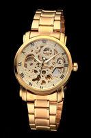 2014 brand winner  Fashion hot new Men's Auto-Mechanical Gold Skeleton Steel Band Wrist Watch