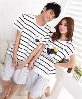 Summer New Men Women Couples Nightwear Home Casual Clothes Lovers Striped Short Sleeve Pajamas Pyjamas