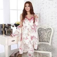 Women Pajamas Nightdress Nightgown Three-piece Suit Robe Abaya Tracksuit Sleepwear Home Night Clothes Sleepskirt sexy lingerie