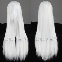 80cm Long Straight White Cosplay party wigs anime Fashion Wig Free shipping + wig cap