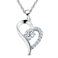 100% pure 925 sterling silver  heart pendant necklace wedding jewelry women necklace A005