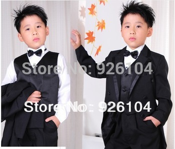 new 2014 Child tuxedo 6 pcs/ set male child suit formal dress tuxedo boy for weddings boys blazers kids