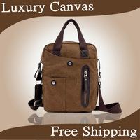 Free shipping men casual canvas handbag black & brown shoulder bag for business bolsos bolsas de los hombres paquete M
