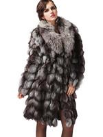 2013 New Fashion Design Fur Coat Top 100% Natural Fox Fur Coats Long Style Thick Winter Furs For Women EMS/DHL Free Shipping