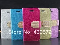 for samsung galaxy s4 luxury glitter bling flip leather cell phone skin cases cover for samsung galaxy s IV i9500 free shipping