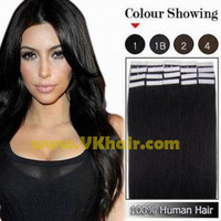 "16""18""20""22""24""Remy Tape Hair Extension #01-jet black tape human hair 20pcs 30g 40g 50g 60g 70g Freeshipping [VKhair]"