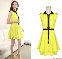 Ladies fashion novel slim ruffle chiffon dress in the summer of 2013 women sleeveless shirt skirt dress style commuter S-XL A816