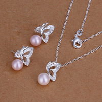 Wholesale 925 Sterling Silver Jewelry set,Pink Imitation pearls 925 Necklace + 925 earring Jewelry Set, Free Shipping,H197