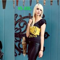 new fashion womens' Band Nirvana souvenir Smile face Letters Print Short Sleeve black tee Shirt Tops blouse XS-XXL