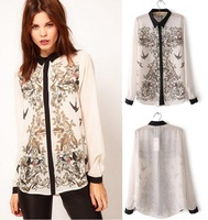 Free Shipping 2013 Brand New S M L  Women Fashion Lapel Collar Leiothrix Chiffon Long Sleeve Shirt Tops Blouses