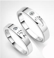 Lovely Footprint Couple Rings Genuine 925 Sterling Silver Wedding Rings For Men Women Romantic Christmas Gift Free Shipping