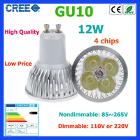 10pcs led bulb GU10 12w 4*3W warm white cold white 220V Dimmable led Light led lamp led spotlight