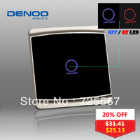 Designer 2013 DENOO Brand Luxury Knight black 1 gang 1 way wall light touch switch with LED indicator tempered glass panel