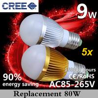 Factory 5pcs 9W E27 Energy Saving  Dimmable LED LIGHT light (LED Light Bulbs Lamp Lighting in living room) Free shipping