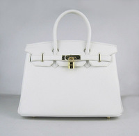 HERMESBIRKIN white bag bag with gold hardware