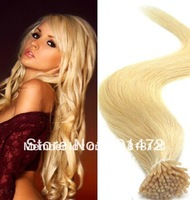 "18"" 20"" 22"" #613 Bleach Blonde Keratin Stick Virgin Remy Brazilian Hair I Stick I Tip Human Hair Extensions Cheep Free Shipping"