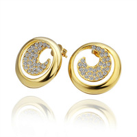 Fashion high quality women stud earring 18K gold Plated New arrival Crystal earrings jewelry .Free shipping E404