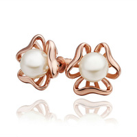 Fashion high quality women stud earring 18K gold Plated New arrival Imitation pearls earrings jewelry E407