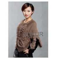 QD27877 Women's New Style 100% Natural Knitted Rabbit Fur Pullovers Autumn Sweater O-Neck Shawls Lady Wraps 3 Colors