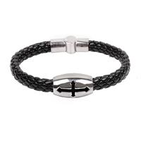 titanium steel  christian cross bracelet leather man christian bracelet