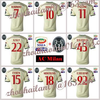 2014-15 Serie A AC Milan away soccer jersey top Thai version of Football jerseys A + + +  Serie A patch +7 Cup