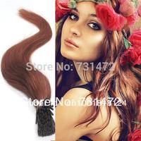 "18""20"" 22"" Free Shipping  Hair Brazilian Virgin Remy Human Hair I Tip  Hair Extensions 0.5g/s 100s 50g #30 Light Auburn"