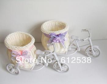 3Pcs Artificial canework tricycle flower vase floral organ flower basket Decor