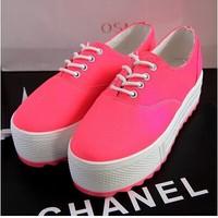 Free shipping neon color platform single shoes lacing platform casual shoes canvas shoes low size 35-39