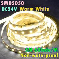 DC24V 5M 60leds/m 300leds 14.4W/m 72W Warm White Color Non Waterproof Self Adhesive Soft LED Strip Light SMD5050