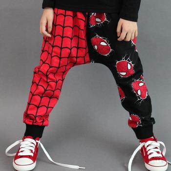 Бесплатная доставка розничная 2015 новый уникальный дизайн супер человек паук дети девушки парни шаровары брюки 2-7Y