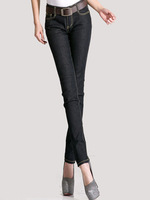 [TC ]  2015 Spring Autumn fashion women jeans skinny denim pencil pants for female black blue jeans woman black blue jeans