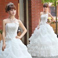 Wholesale Price White New Fashion Vestido 2014 Hot Sweet Princess Classic Royal Wedding Dresses Plus Size Romantic Fashion Gown