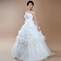 Wedding Dress Hot-selling Vestido New Fashion 2014 Bride White Wedding Dresses Zipper Romantic Fashion Bridal Gown Drop Shipping