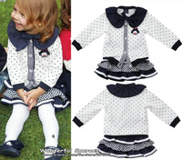 Free Shipping!2013 New Autumn girls' dresses,ruffled collar long sleeve shirt+cute miniskirt set,princess clothing sets,5set/lot