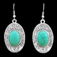Fashion Jewelry Vintage Look Silver Plated Curve Flower Bead Turquoise Dangle Earrings E020
