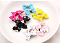 Printed Mini Ribbon Bow Barrette / Child Baby Headwear / Color Mixing/40pcs/lot