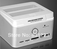 "New 2.5""/3.5"" SATA HDD Hard Disk Dock 2xSATA USB2.0 TF M2 SD MS MMC Card Reader Docking Station Free Shipping, Wholesale"